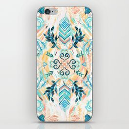 Abstract Painted Boho Pattern in Cyan & Teal iPhone Skin