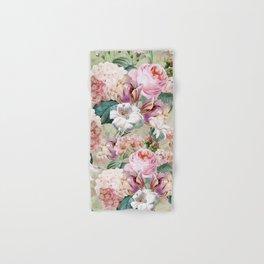 Vintage & Shabby Chic -Blush Pink Botanical Spring Roses Garden  Hand & Bath Towel