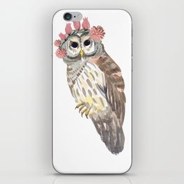 Owl with flower crown iPhone Skin