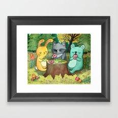 Woodland Animal Picnic Framed Art Print