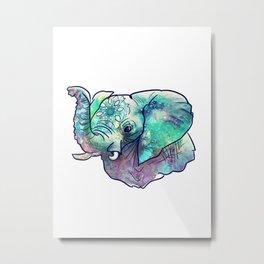 Pastel Abstract Elephant Metal Print