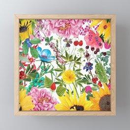 Summer Sunflower Collage Framed Mini Art Print
