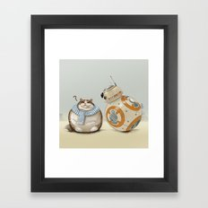 CAT AND DROID Framed Art Print