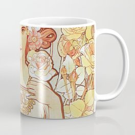 Rose by Alphonse Mucha 1897 // Vintage Girl with Red Hair Floral Love Design Coffee Mug