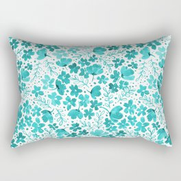 Turquoise Watercolor Floral Pattern Rectangular Pillow