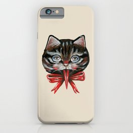 Cute Krampus cat face with red bow iPhone Case