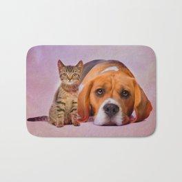 Beagle dog and kitten digital art Bath Mat