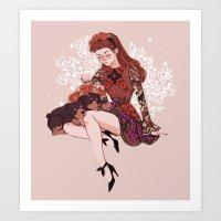 Persephone and Cerberus Art Print
