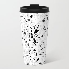 Black White and Grey Speckles Terrazzo Monochrome Dots Patter Travel Mug
