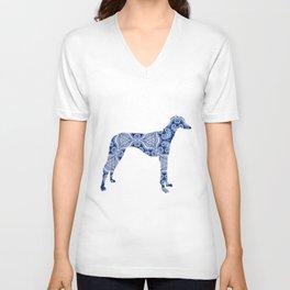 Paisley Dog No. 3 in Blue   Extra Large Unisex V-Neck