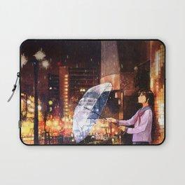 Anime Girl City Night Rain Laptop Sleeve