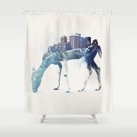 city Shower Curtains featuring City Deer by Robert Farkas