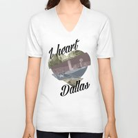 dallas V-neck T-shirts featuring Dallas by Prints_by_Gabriel