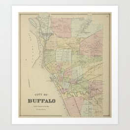 Vintage Map of Buffalo NY (1866) Art Print