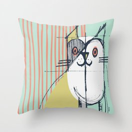 Cubist Cat Study #5 by Friztin Throw Pillow