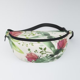 Fashion textile floral vector pattern with rustic clover flowers Fanny Pack