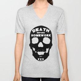 Death Before Homework Unisex V-Neck