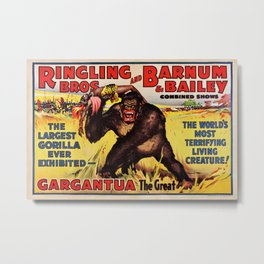 1938 Ringling Brothers and Barnum & Bailey Big Top 'GARGANTUA the Great' Circus Poster Metal Print