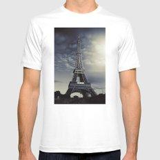 Dark Eiffel MEDIUM White Mens Fitted Tee