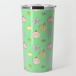 Pumpkin Pattern on Green Blackground Travel Mug