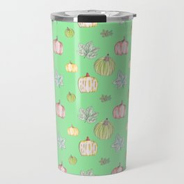 Pumpkin Pattern on Green Blackground Travel Mug