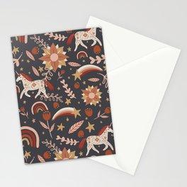 Boho Unicorn Rainbow Star Magic Pattern Stationery Cards