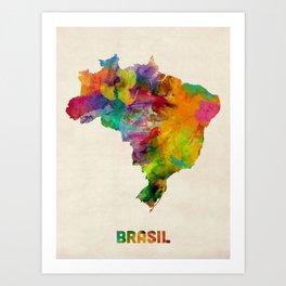 Brazil Watercolor Map Art Print