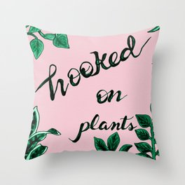 Hooked On Plants In Pink Throw Pillow