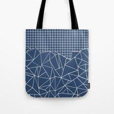 Ab Outline Grid Navy Tote Bag