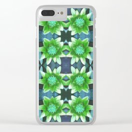 Blue Tropical Bromiliad Panel Clear iPhone Case