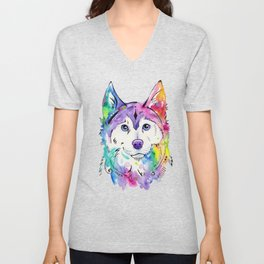 Happy - Siberian Husky Watercolor Art Unisex V-Neck