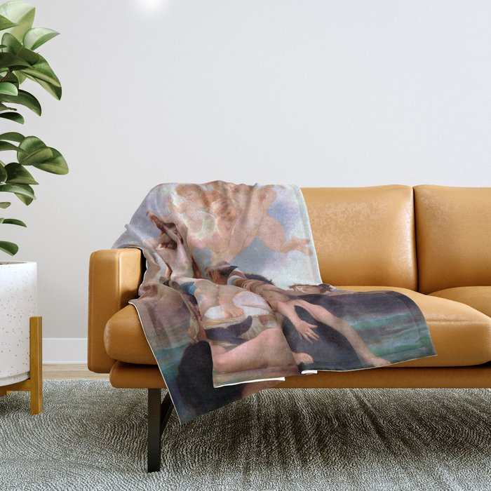 The Birth of Venus by William Adolphe Bouguereau Throw Blanket