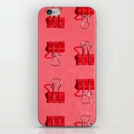 Red Binder Clips iPhone Skin