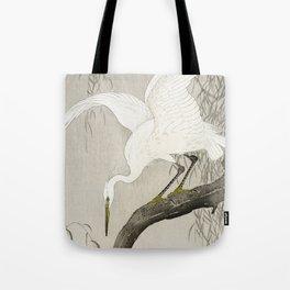 White Heron Sitting On A Tree Branch - Vintage Japanese Woodblock Print Art Tote Bag