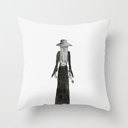 """Southern Gothic Witch Coven Watercolor; """"Rite"""" Throw Pillow"""