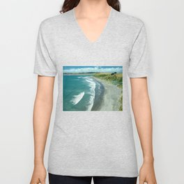 Raglan beach, New Zealand Unisex V-Neck