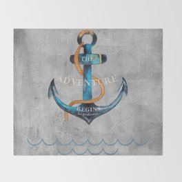 Maritime Design- Nautic Anchor Navy Marine Beach Throw Blanket