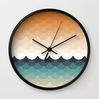 waves Wall Clocks featuring Waves by Marta Li