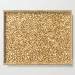 Trendy Gold Glitter Texture Print Serving Tray