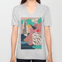 abstract collage with embroidery Unisex V-Neck