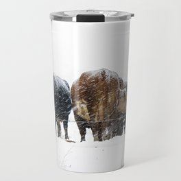 Cattle in a Snowstorm in SouthWest Michigan Travel Mug
