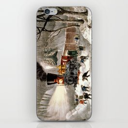 Snow Bound: Vintage Currier & Ives Railroad Scene iPhone Skin