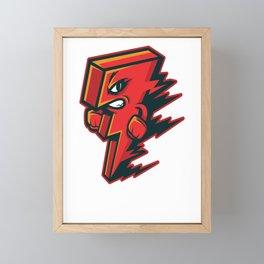 Red Orange Lightning Bolt Funny Graphic Gift Framed Mini Art Print