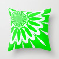 lime green Throw Pillows featuring Lime Green Modern Flower by 2sweet4words Designs