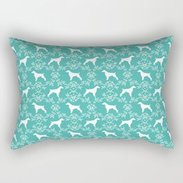 Brittany Spaniel florals silhouettes dog breed pet portrait gifts blue Rectangular Pillow
