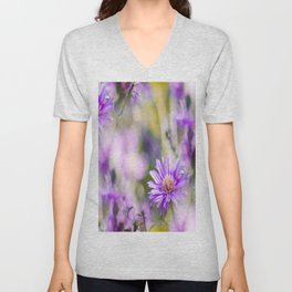 Summer dream - purple flowers - happy and colorful mood Unisex V-Neck