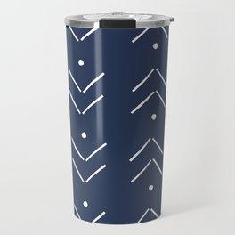 Arrow Lines Pattern in Navy Blue Travel Mug