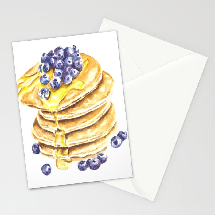 Pancake Stack Watercolor Painting Stationery Cards