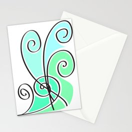 green waves lines Stationery Cards