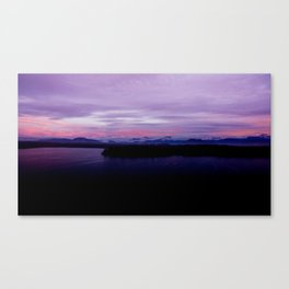 mahinapua golden hours purple reflections clouds dark Canvas Print